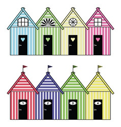 Beach storage houses vector