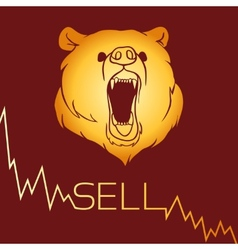 Bear short selling vector