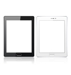 Black and white tablet pc computer with blank vector