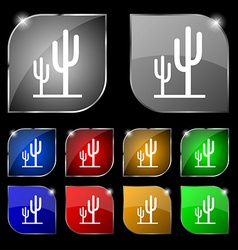 Cactus icon sign set of ten colorful buttons with vector