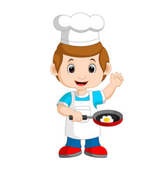 chef frying egg vector image vector image