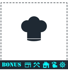 Chef hat icon flat vector