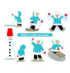 Children winter amusements vector