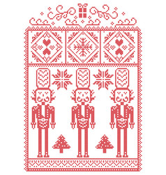 Christmas pattern with nutcracker vector