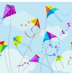 colorful kites and clouds vector image vector image