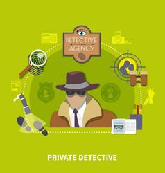 Detective flat concept vector