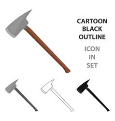 fire axe icon cartoon single silhouette fire vector image