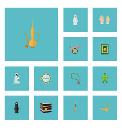 Flat icons genie prayer carpet artillery and vector