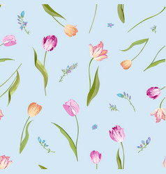 Floral seamless pattern with watercolor tulips vector