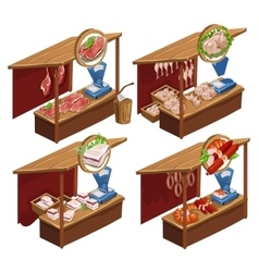 Four kiosk selling meat products vector