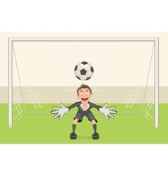 Goalkeeper catches soccer ball penalty kick in vector