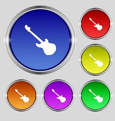 Guitar icon sign round symbol on bright colourful vector