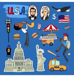 hand-drawn USA Landmarks set vector image vector image