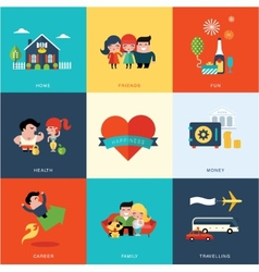 Happiness set vector image
