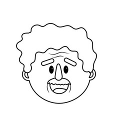 Line old man face with hairstyle vector