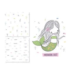 Mermaids exist surface design vector