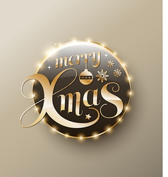 Merry xmas gold lettering circle modern vector
