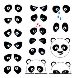 Panda emotions eyes vector