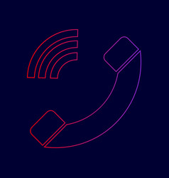 Phone sign line icon with vector