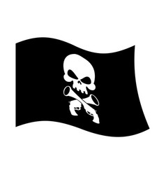 pirate flag skull and crossbones piratical black vector image