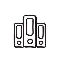 Row of folders sketch icon vector