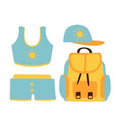 Shorts top cap backpack women beach vector