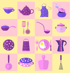 Sixteen kitchen tools and utensils in set vector
