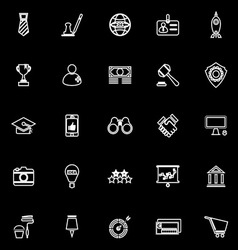 SME line icons on black background vector image vector image
