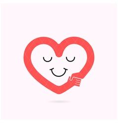 Smile heart shape and handshake symbol vector