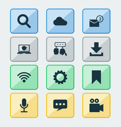Social icons set collection of video chat inbox vector