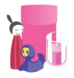 Souvenirs and home accessories candle and pink vector