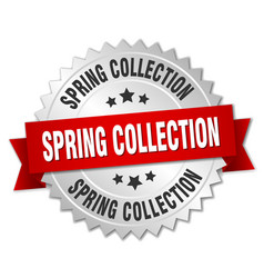 Spring collection 3d silver badge with red ribbon vector