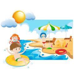 Three kids swimming and playin at sea vector