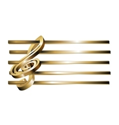 treble clef stave 3D gold vector image