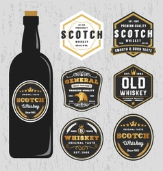Vintage premium whiskey brands label vector