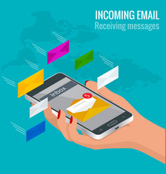 woman received an e-mail online on a mobile phone vector image vector image