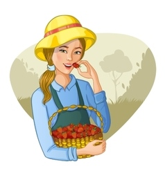 Woman with basket of strawberries vector