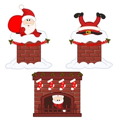 Santa claus inside chimney and fireplace vector