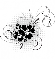 Hibiscus with swirls vector