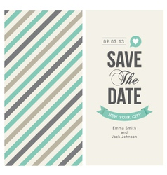 Wedding invitation card with backround stripes vector image