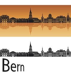 Bern skyline in orange background vector