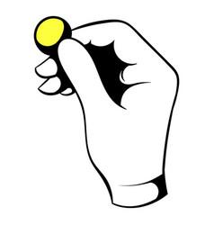 Hand putting a golden coin icon icon cartoon vector