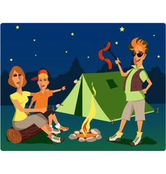 Campers at night vector image