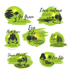 Eco green life and ecology protection symbol vector