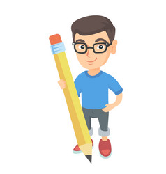 caucasian kid boy standing with a huge pencil vector image