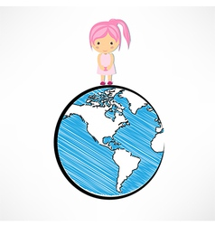 Girls and globe concept vector