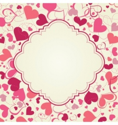 Cute hearts frame vector
