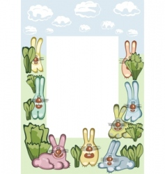frame with hares vector image