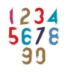 Calligraphic numbers drawn with ink brush colorful vector