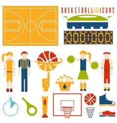 Flat design icons of basketball vector